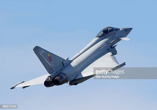 Display of Typhoon Aircraft seen during a visit by Prince William, Duke of Cambridge to RAF Coningsby to observe the 100th Anniversary Parade of 29...