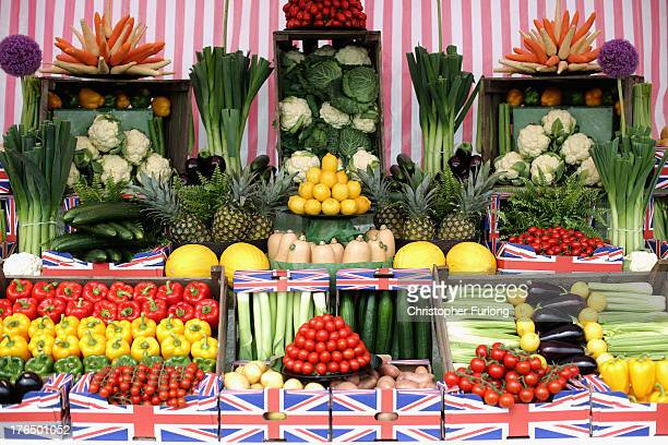 A display of vegetables as exhibitors prepare for the Southport Flower Show on August 14 2013 in Southport England The annual show is the UK's oldest...