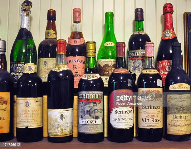 A display of vintage wine sherry and port bottles at Beringer Vineyards in St Helena California in the state's Napa Valley American Viticultural Area...