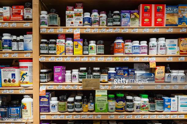 Display of vitamin and supplement products in a health food store