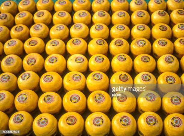 Pantalla de cera amarillo quesos el queso mercado de Alkmaar, los países bajos