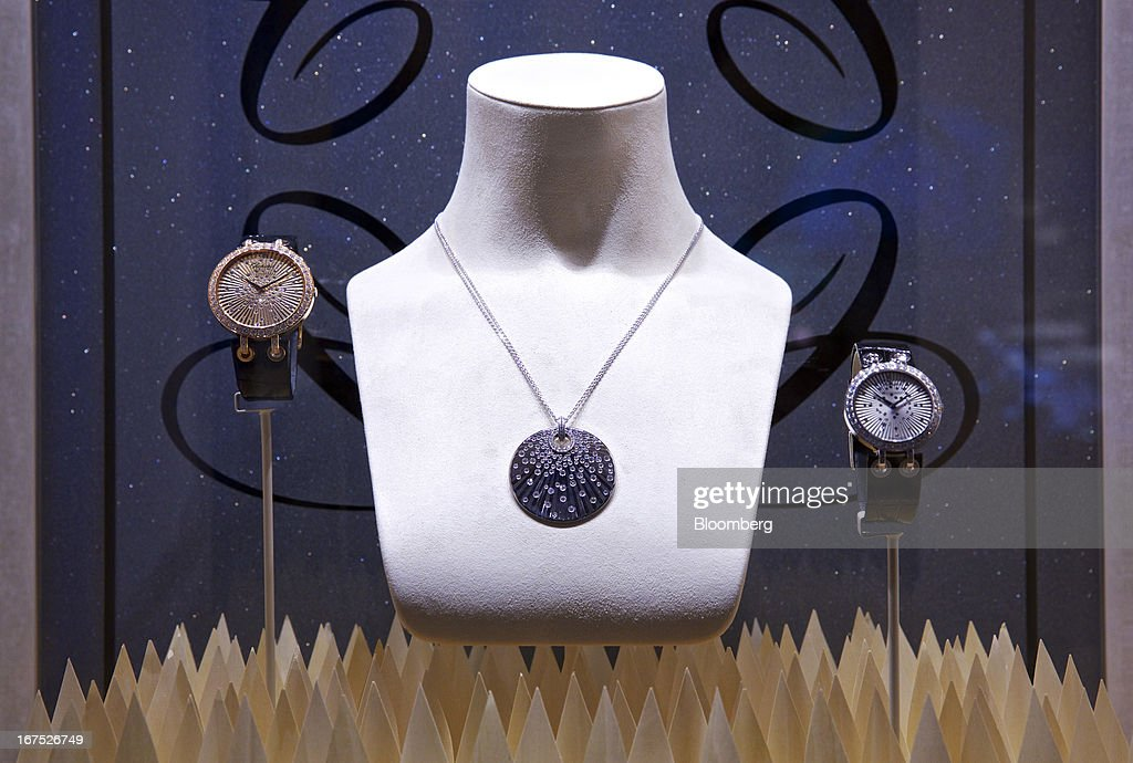 A display of Xtravaganza wristwatches, manufactured by Chopard & Cie SA, are seen in a window at the company's booth during the Baselworld watch fair in Basel, Switzerland, on Thursday, April 25, 2013. The annual fair attracts 2,000 companies from the watch, jewelry and gem industries to show their new wares to more than 100,000 visitors. Photographer: Gianluca Colla/Bloomberg via Getty Images