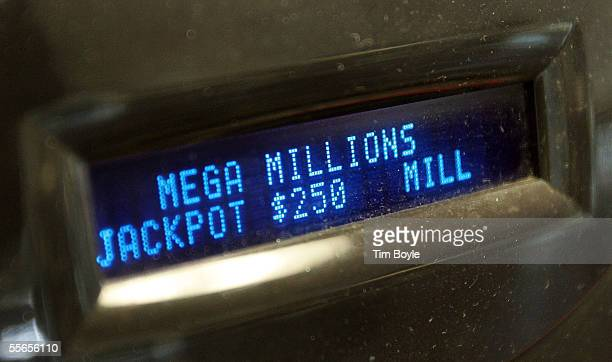 A display on a card reader shows the $250 million jackpot for the Mega Millions game at a Citgo gas station September 16 2005 in Russell Illinois on...