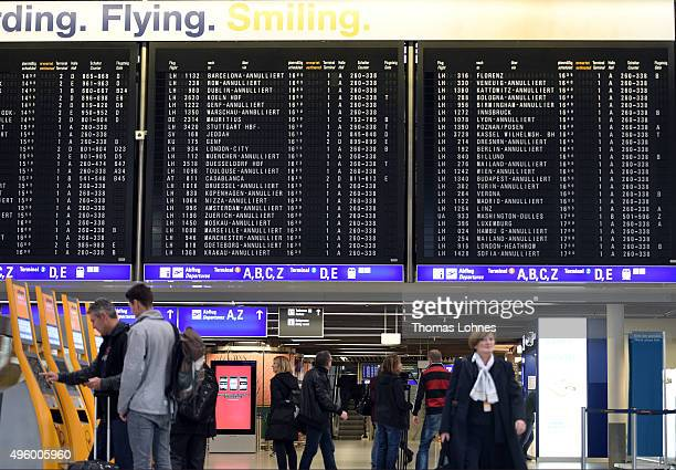 A display panel at Frankfurt Airport shows cancelled flights of the German airline 'Lufthansa' during an initial oneday strike over salaries at...