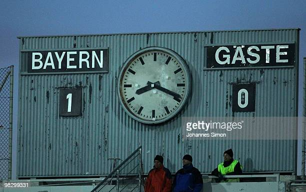A display panel shows the result of the 3rd League match FC Bayern Muenchen II vs FC Ingolstadt at Gruenwalder Stadion on April 6 2010 in Munich...