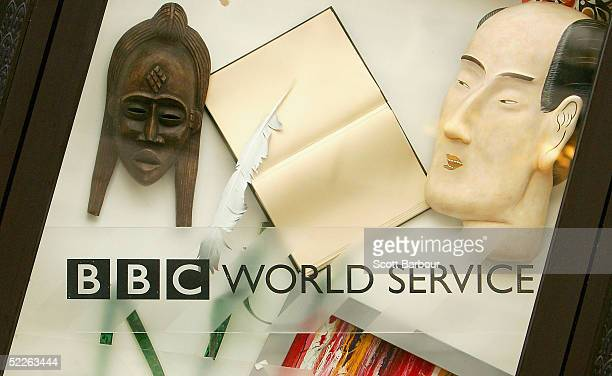 A display promoting the British Broadcasting Corporation World Service sits in a window of a BBC building on March 2 2005 in London England Under new...