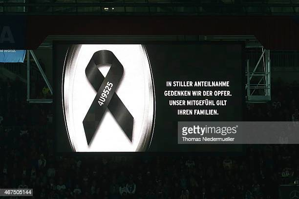 "Display seen during 'minute of silence"" in memoriam to the victims of the airplane disaster of Germanwings flight 4U9525 prior to the international..."