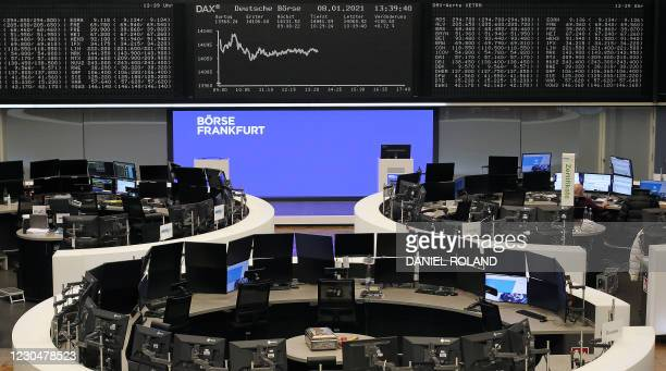 Display showing the German Stock Market Index DAX is pictured at the stock exchange in Frankfurt, Germany, on January 8, 2021. - Germany's blue-chip...