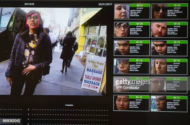 A display shows a facial recognition system for law enforcement during the NVIDIA GPU Technology Conference which showcases artificial intelligence...