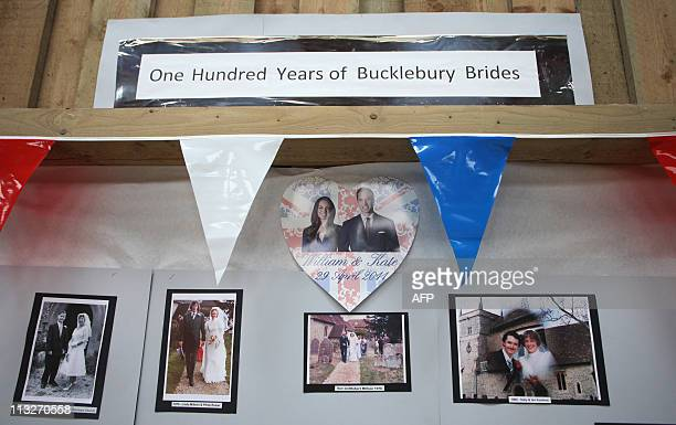 A display shows former brides of Bucklebury village at a Tea in the Park event in Kate Middleton's home village of Bucklebury Berkshire on April 29...