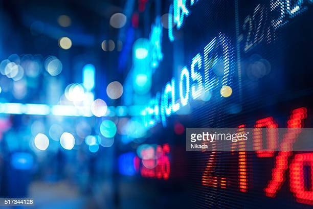display stock market numbers and graph - hang seng index stock pictures, royalty-free photos & images
