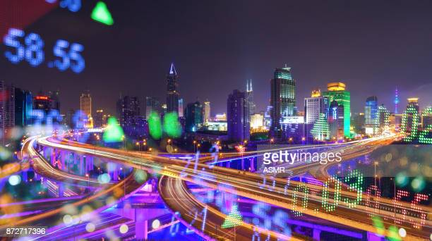 Display stock numbers and shanghai skyline background