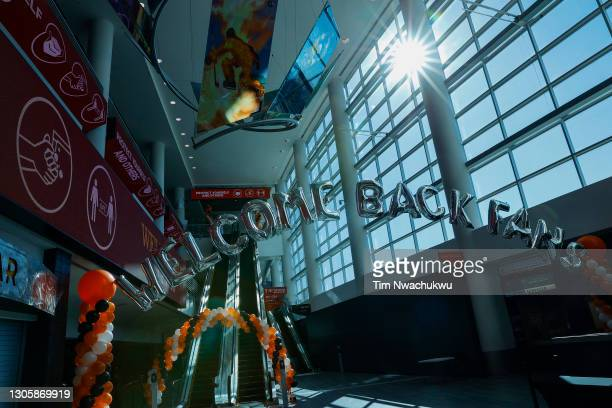 Display welcoming fans is seen before a game between the Philadelphia Flyers and the Washington Capitals at Wells Fargo Center on March 07, 2021 in...