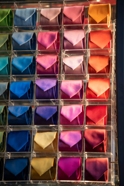 Display With Colored Ties. Products For Sale In A Shop. Colored Ties For Men