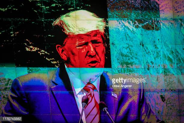 Displayed on a monitor, U.S. President Donald Trump addresses the United Nations General Assembly at UN headquarters on September 24, 2019 in New...