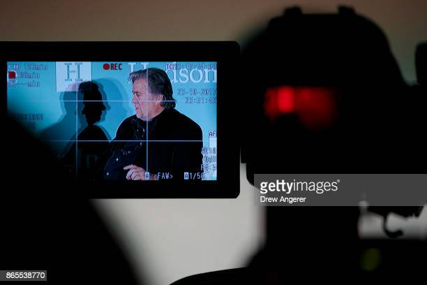 Displayed on a video camera monitor Steve Bannon former White House chief strategist and chairman of Breitbart News speaks during a discussion on...