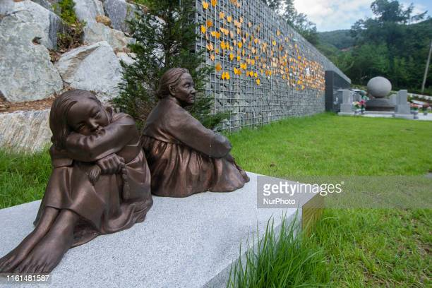 A Displayed Sculpture about WWII Japanese Military Comfort Women at Memorial Park of Sharing House in Gwangju South Korea on 13 August 2019 House of...