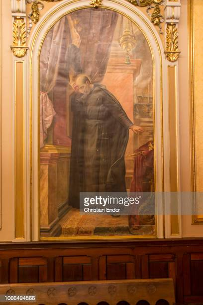Displaying a painting of Francis Xavier inside a chapel of the spiritual center that was build on the cave where Saint Ignatius of Loyola prayed from...
