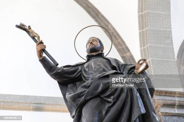 Displaying a sculpture of Francis Xavier inside the hall of the old manor house in Azpeitia. Ignatius of Loyola was born here in 1491. Later on the...