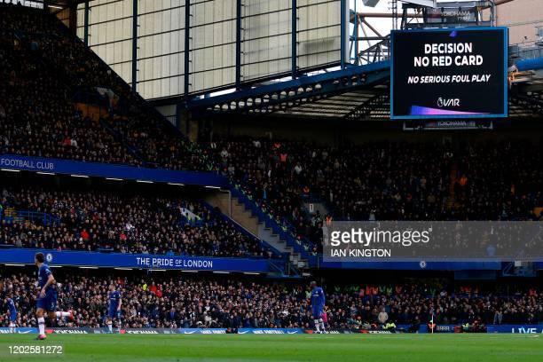 VAR displays a 'no foul' decision after Chelsea's Spanish defender Cesar Azpilicueta was fouled by Tottenham Hotspur's Argentinian midfielder Giovani...