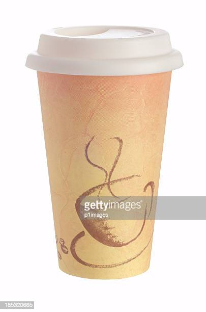 Disposable beige coffee cup on white background