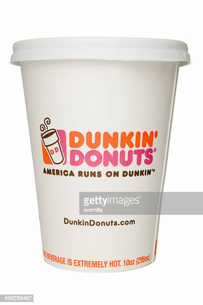 disposable coffee cup - dunkin' stock pictures, royalty-free photos & images