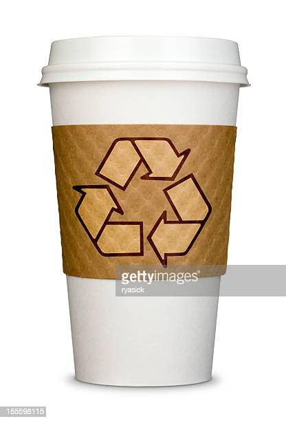 Disposable Coffee Cup With Recycle Logo on Cardboard Sleeve Isolated