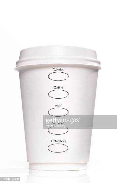 Disposable cup with 'unhealthy lifestyle' options