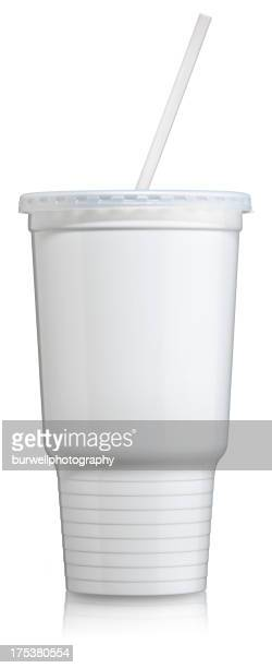 disposable plastic cold beverage cup with lid and straw - soda stock pictures, royalty-free photos & images