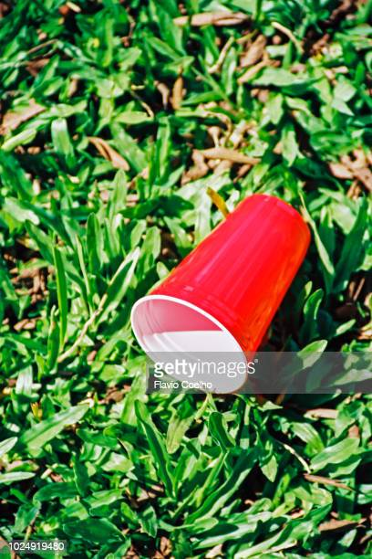 disposable plastic cup on the grass - disposable cup stock pictures, royalty-free photos & images