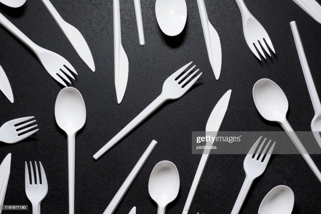 Disposable plastic cutlery : Stock Photo