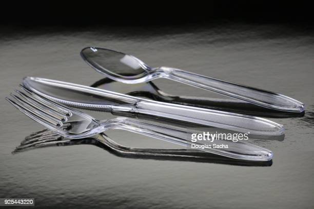 Disposable plastic knife, spoon and fork