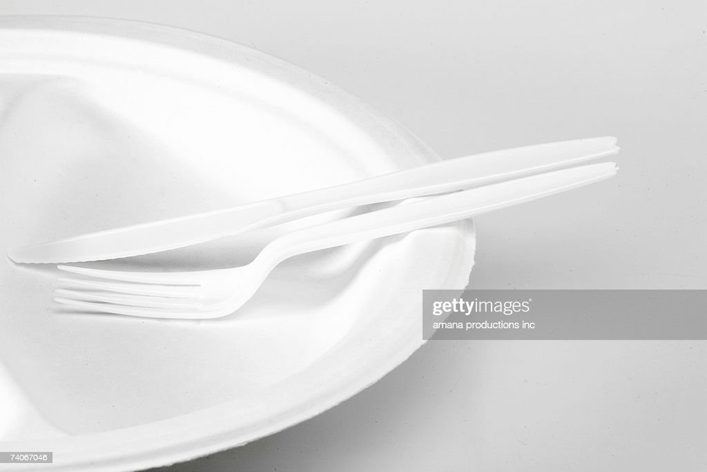 Disposable plate and cutlery (close-up) : Stock Photo