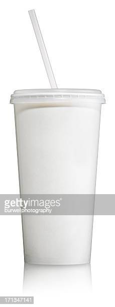disposable soft drink cup with lid - disposable cup stock pictures, royalty-free photos & images