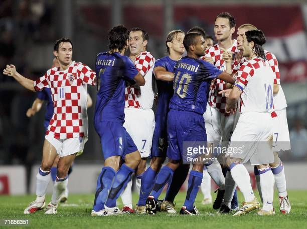 A dispute between the Italy and Croatia players breaks out during the International Friendly between Italy and Croatia at the Armando Picchi Stadium...