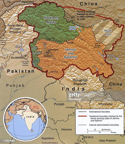 Disputed Area of Kashmir 2002 Illustration by CIA