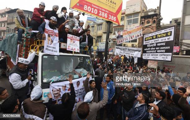 Disqualified MLA Alka Lamba along with other AAP party workers participate in a protest march at Chawri Bazar keeping with the call for a Delhi Bandh...