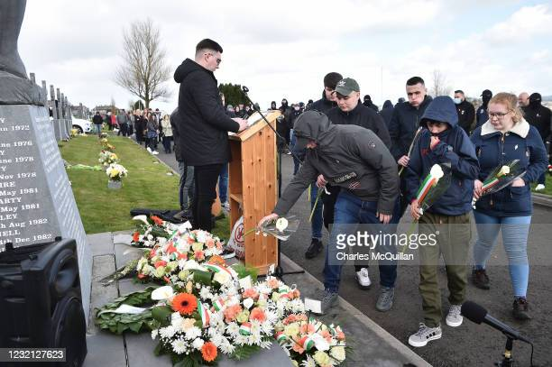 Dissident republican supporters take part in a wreath laying ceremony at derry city cemetery on April 5, 2021 in Londonderry, Northern Ireland. Due...