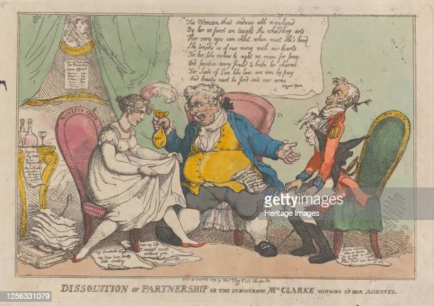 Dissolution of Partnership, or the Industrious Mrs. Clarke Winding Up Her Accounts, February 15, 1809. Artist Thomas Rowlandson.