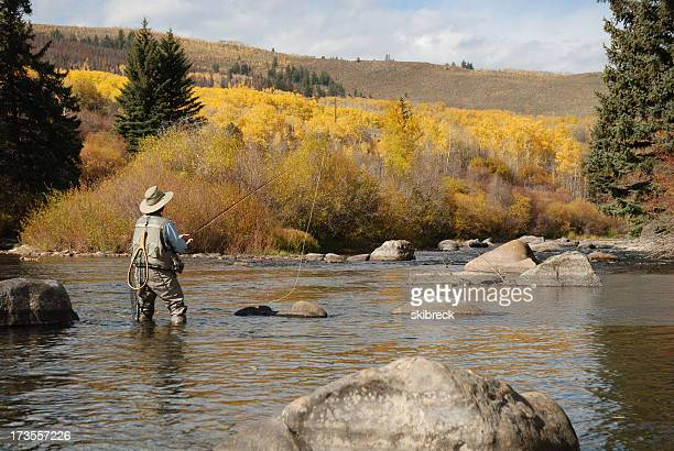 Distance image of a woman fly fishing in a river