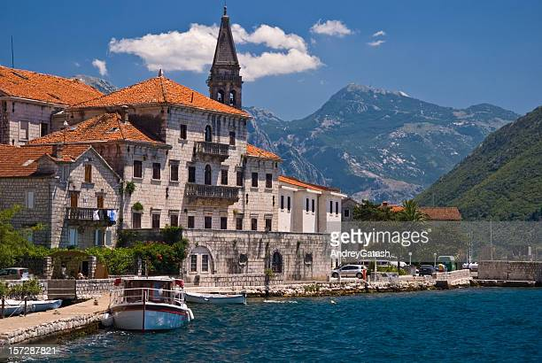 distance photo of perast, montenegro in the mediterranean - montenegro bildbanksfoton och bilder