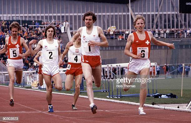 Distance runner Brendan Foster of Great Britain in action in an athletics meeting at Crystal Palace London England during August 1979