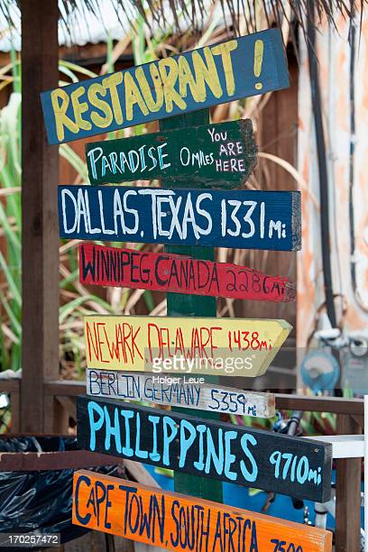 Distance signs at Hammerheads pub