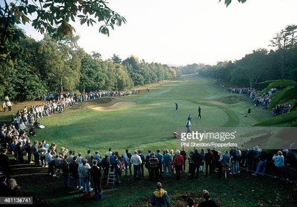 Distance view of the third green during the World Match play Golf Championship held at the Wentworth Golf Club, Surrey, circa October 1989.