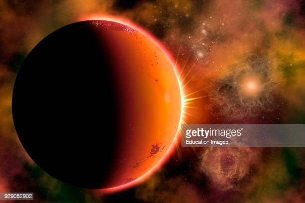 Distant Alien Planet In Orbit Around A Binary Star System At The Edge Of A Gaseous Nebula