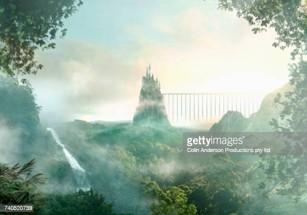 distant castle near waterfall - dreamlike stock pictures, royalty-free photos & images