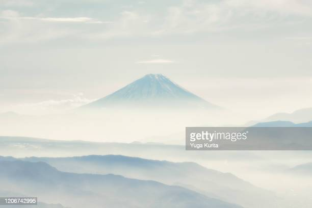 distant fujiyama - mt. fuji stock pictures, royalty-free photos & images