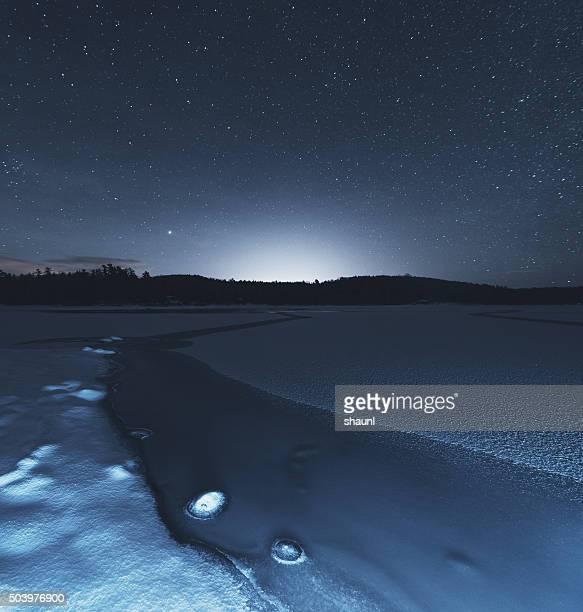 遠くの輝きに潜む凍った湖