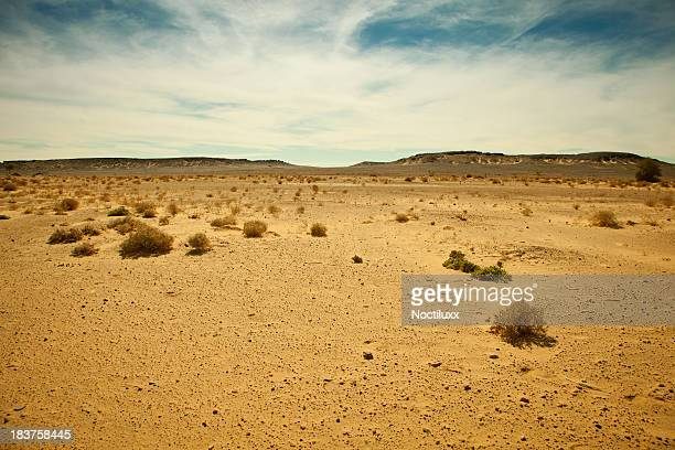 Distant mountain range in Libyan Sahara desert