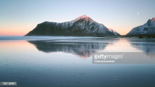 distant people standing on beach, lofoten, norway,  - snowcapped mountain stock pictures, royalty-free photos & images